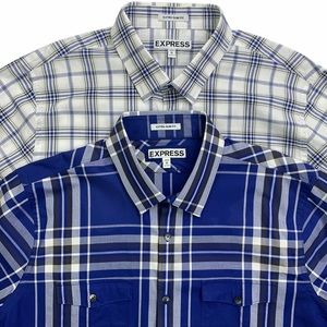 (2) Express Extra Slim Fit Button Down Shirt Lot.